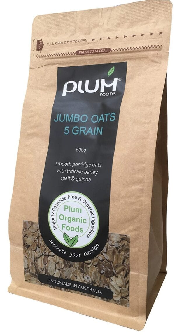 Jumbo Oats 5 Grain Organic Porridge 500g - Plum Foods